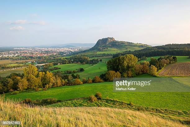 Late summer light in the Hegau region with Mt Hohentwiel, city of Singen on the left, Konstanz district, Baden-Wurttemberg, Germany