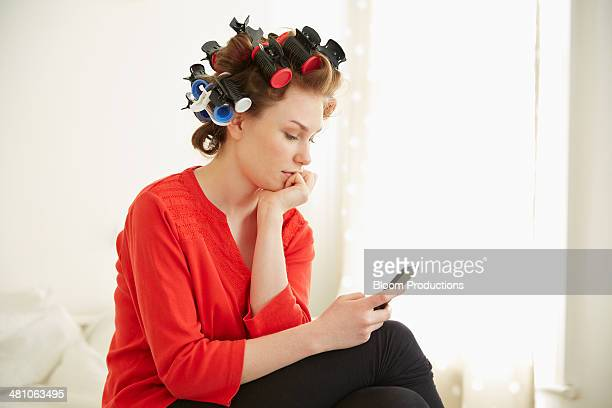 Late teens girl using technology