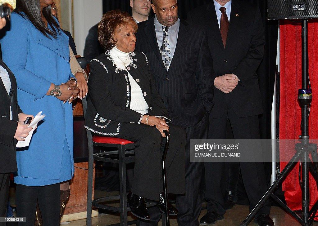Late US singer Whitney Houston's mother Cissy, attends a ceremony during which four wax figures of Houston are unveiled at Madame Tussauds in New York, February 7, 2013. The new wax likenesses, representing Houston in four different points of her life, were unveiled in front of some of her family members before being individually installed in each of the four US-based Madame Tussauds attractions in New York, Washington DC, Los Angeles and Las vegas. AFP PHOTO/Emmanuel Dunand
