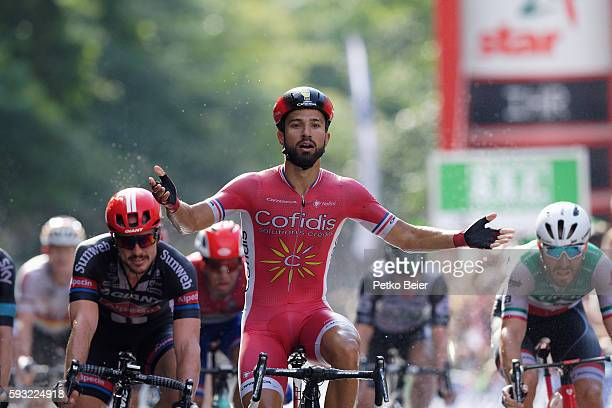 Later set back Nacer Bouhanni sprints for the victory at the Euroeyes Cyclassics Hamburg on August 21 2016 in Hamburg Germany