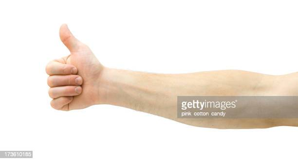 Lateral image of arm with thumbs up on white background