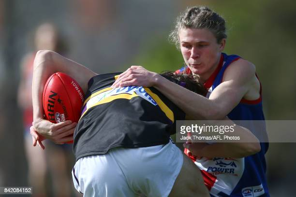 Latham Vandeermeer of the Murray Bushrangers and Xavier Duursma of the Power compete for the ball during the TAC Cup round 18 match between Gippsland...
