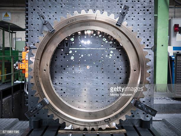 Lathe gear wheel on lathe in engineering factory