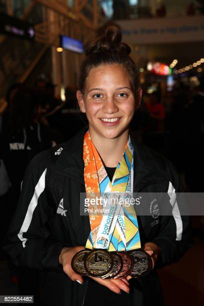 Laticia Transom of the New Zealand Youth Commonwealth Games team poses with her medals as she arrives back from the Bahamas Youth Commonwealth Games...