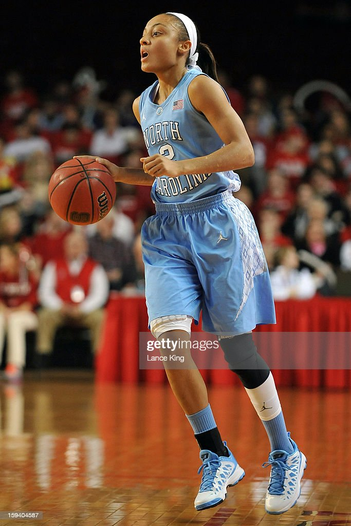 Latifah Coleman #2 of the North Carolina Tar Heels dribbles up court against the North Carolina State Wolfpack at Reynolds Coliseum on January 10, 2013 in Raleigh, North Carolina.
