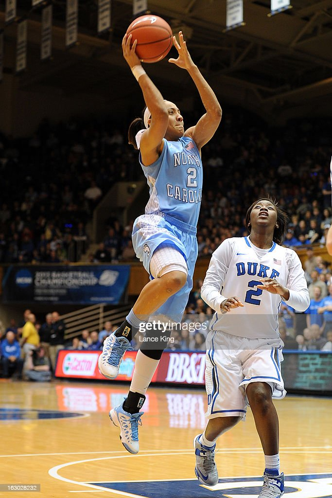Latifah Coleman #2 of the North Carolina Tar Heels puts up a shot against the Duke Blue Devils at Cameron Indoor Stadium on March 3, 2013 in Durham, North Carolina. Duke defeated North Carolina 65-58.
