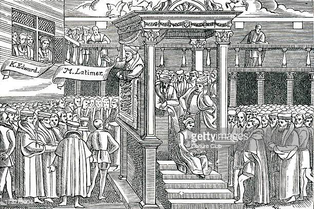 Latimer preaching before Edward VI From a woodcut in Foxe's 'Martyrs' 1563 Hugh Latimer Bishop of Worcester Fellow of Clare College Cambridge and...