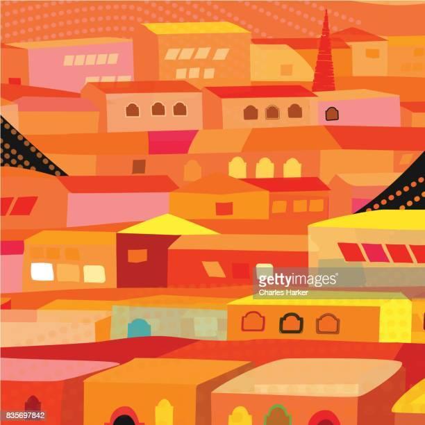 Latin American Bright Orange Row Houses in Folk Style Pattern