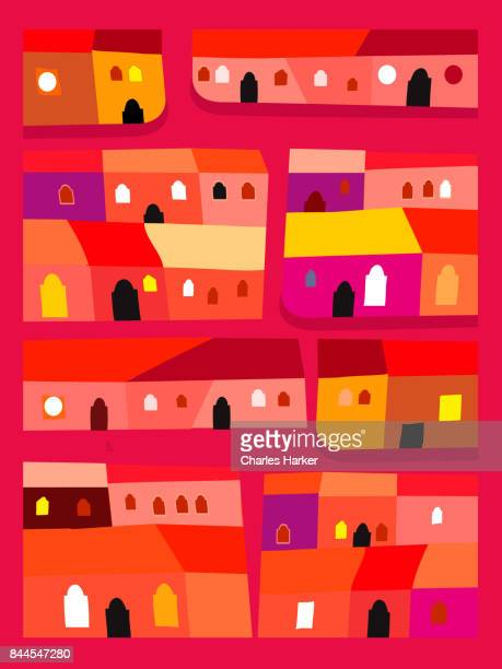 Latin American Bright Red and Orange Row Houses Decorative Illustration in Folk Style Pattern
