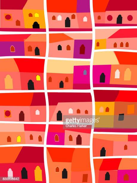 Latin American Brightly Colored Row Houses Illustration in Hilly Landscape Folk Style