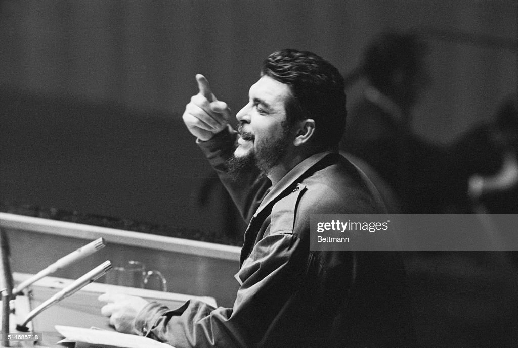 Latin American revolutionary Ernesto 'Che' Guevara debates denuclearization of the Western Hemisphere in the General Assembly of the United Nations