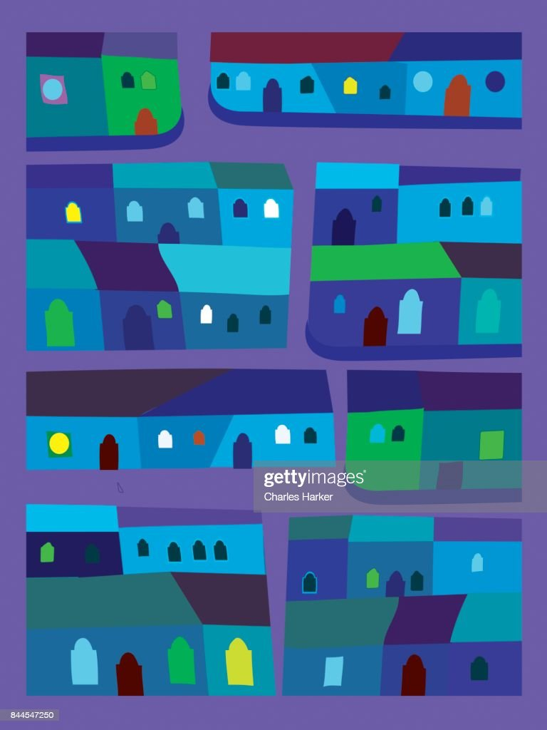 Latin American vivid blue and green row houses decorative illustration in folk style pattern : Stock Photo