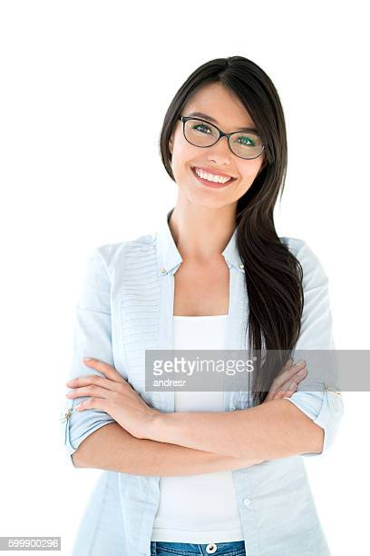 Latin American woman wearing glasses