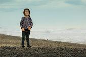 Little child in the beach