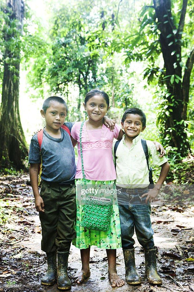 Latin Children in the woods : Stock Photo