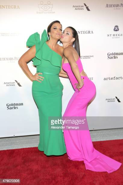 Latin Grammy Award winner Ivete Sangalo and Supermodel Adriana Lima arrive at the third annual BrazilFoundation Gala Miami at Perez Art Museum Miami...