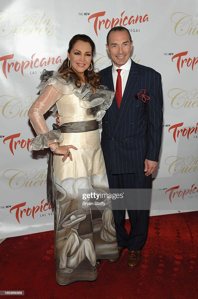 Latin Grammy Award-winning Mexican singer Aida Cuevas (L) and the New Tropicana Las Vegas Chairman and CEO <a gi-track='captionPersonalityLinkClicked' href=/galleries/search?phrase=Alex+Yemenidjian&family=editorial&specificpeople=214026 ng-click='$event.stopPropagation()'>Alex Yemenidjian</a> attend a press conference announcing her Cinco de Mayo performance at the Tropicana Theater at the New Tropicana Las Vegas on April 3, 2013 in Las Vegas, Nevada.