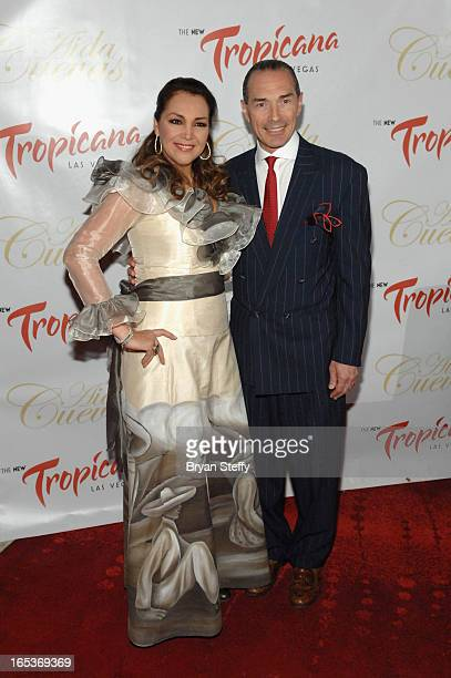 Latin Grammy Awardwinning Mexican singer Aida Cuevas and the New Tropicana Las Vegas Chairman and CEO Alex Yemenidjian attend a press conference...