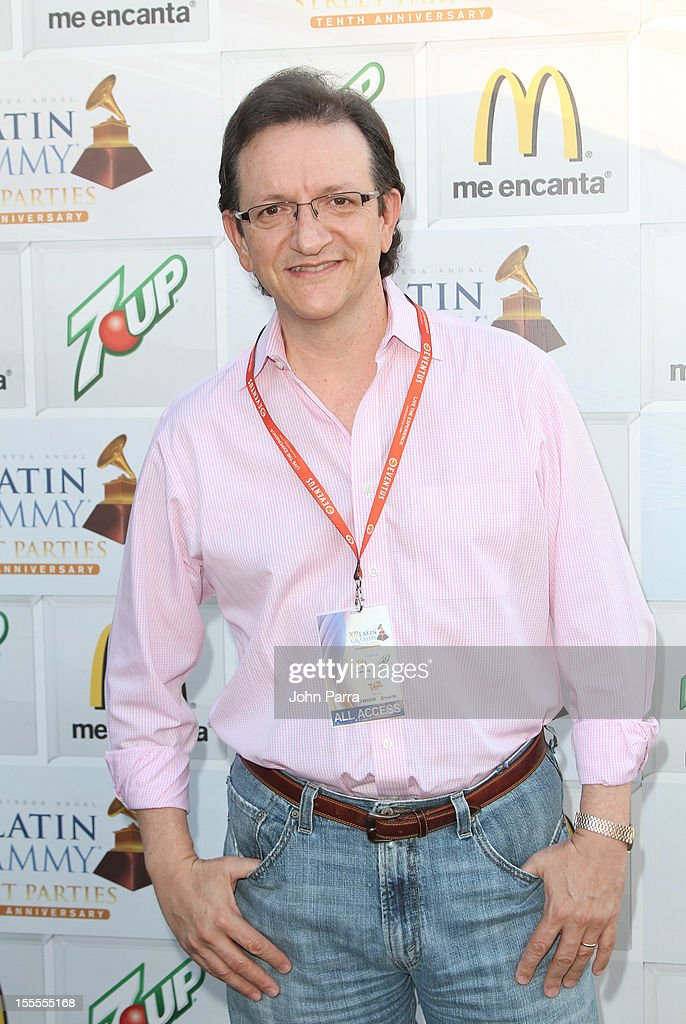 Latin Grammy President/CEO <a gi-track='captionPersonalityLinkClicked' href=/galleries/search?phrase=Gabriel+Abaroa&family=editorial&specificpeople=691921 ng-click='$event.stopPropagation()'>Gabriel Abaroa</a> backstage at the Latin Grammy Street Party 2012 on November 4, 2012 in Hialeah, Florida.