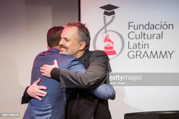 Latin GRAMMY Winner Miguel Bosé hugs the Miguel Bosé Scholarship winner Ernesto Núñez at Berklee College of Music on June 9 2017 in Boston...