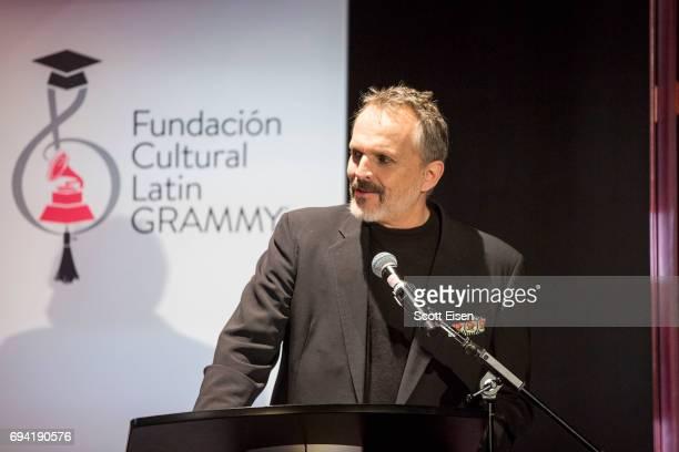 Latin GRAMMY Winner Miguel Bosé speaks about the Miguel Bosé Scholarship winner Ernesto Núñez not pictured at Berklee College of Music on June 9 2017...