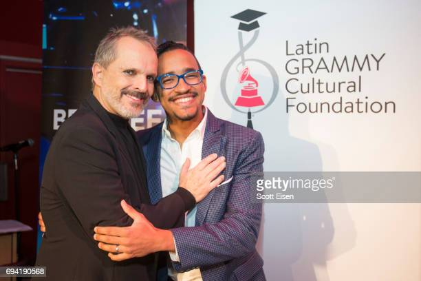 Latin GRAMMY Winner Miguel Bosé with Miguel Bosé Scholarship winner Ernesto Núñez at Berklee College of Music on June 9 2017 in Boston Massachusetts