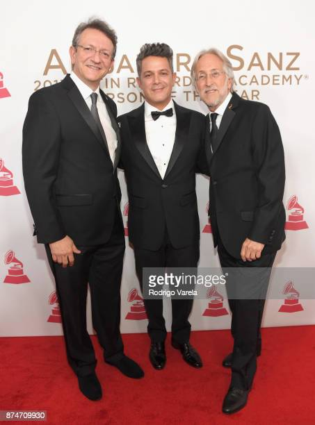 Latin Recording Academy President/CEO Gabriel Abaroa honoree Alejandro Sanz and Recording Academy President Neil Portnow attend the 2017 Person of...