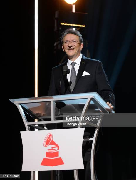 Latin Recording Academy President/CEO Gabriel Abaroa speaks onstage at the 2017 Person of the Year Gala honoring Alejandro Sanz at the Mandalay Bay...
