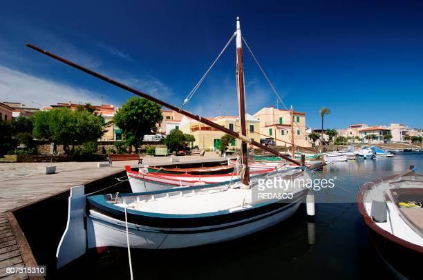Latin sail boats Stintino touristic harbour Sassari Sardinia Italy Europe