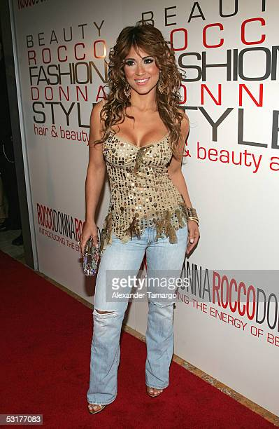 Latin television personality Jackie Guerrido poses at Nikki Beach in Miami Beach Florida on June 30 2005