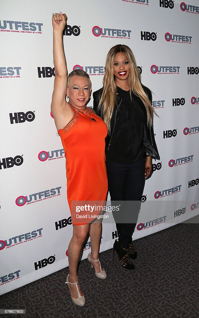 Latina transgender activist Bamby Salcedo and actress Laverne Cox attend the Outfest 2016 Screening of 'The Trans List' at the Director's Guild of...