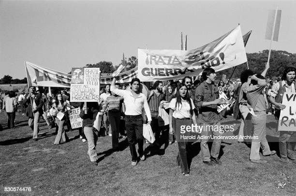 Latino protesters against human rights abuses by the Medici led Brazilian military government San Francisco California March 1971