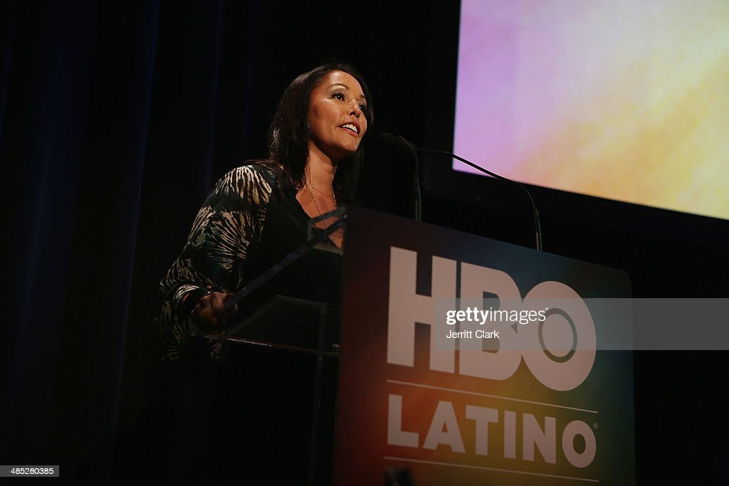Latino SVP of Multicultural Lucinda Martinez speaks at the HBO Latino NYC Premiere of 'Santana: De Corazon' at Hudson Theatre on April 16, 2014 in New York City.