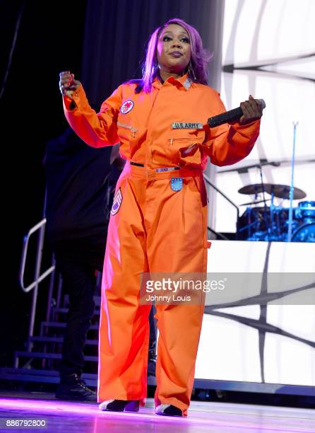 LaTocha Scott of Xscape performs during The Great Xscape tour at American Airlines Arena on December 5 2017 in Miami Florida