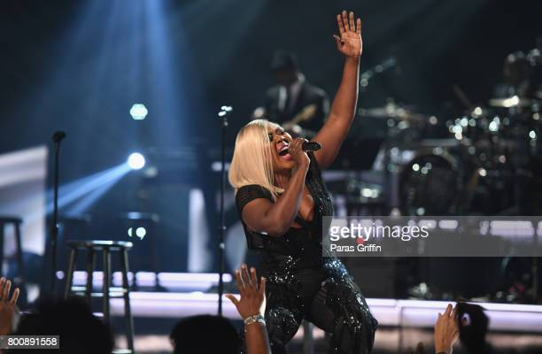 LaTocha Scott of Xscape performs onstage at 2017 BET Awards at Microsoft Theater on June 25 2017 in Los Angeles California