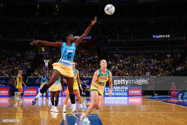 Latonia Blackman of Barbados is challenged by Kimberlee Green of the Diamonds during the 2015 Netball World Cup match between Australia and Barbados...