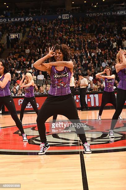 Latoya Robinson of the Raptors Dance Pak performs during the Los Angeles Lakers and Toronto Raptors game on March 27 2015 at Verizon Center in...