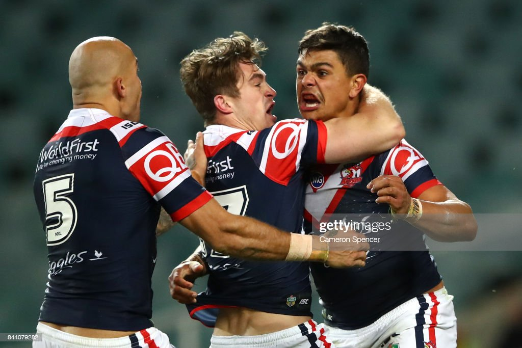 Latrell Mitchell of the Roosters celebrates scoring a try during the NRL Qualifying Final match between the Sydney Roosters and the Brisbane Broncos at Allianz Stadium on September 8, 2017 in Sydney, Australia.