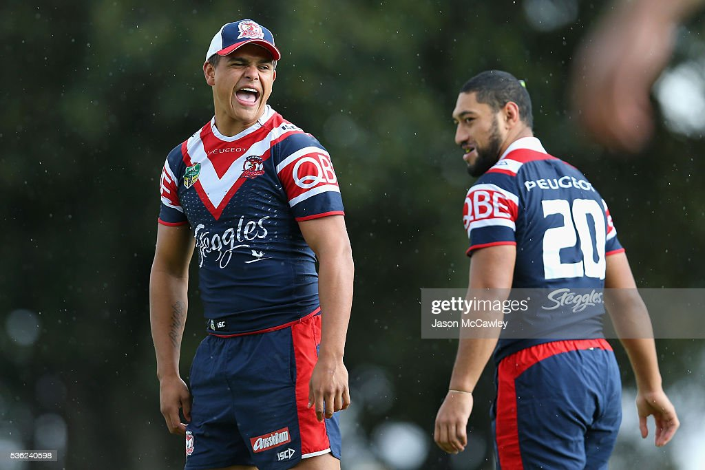 Latrell Mitchell of the Roosters during a Sydney Roosters NRL training session at Moore Park on June 1, 2016 in Sydney, Australia.