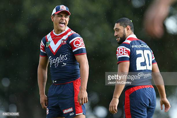 Latrell Mitchell of the Roosters during a Sydney Roosters NRL training session at Moore Park on June 1 2016 in Sydney Australia