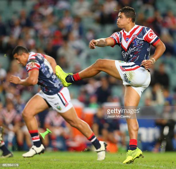 Latrell Mitchell of the Roosters kicks during the round 10 NRL match between the Sydney Roosters and the Parramatta Eels at Allianz Stadium on May 14...
