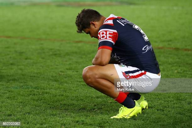 Latrell Mitchell of the Roosters looks dejected after defeat during the NRL Preliminary Final match between the Sydney Roosters and the North...