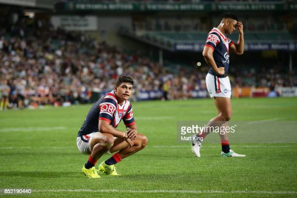 Latrell Mitchell of the Roosters looks dejected at fulltime during the NRL Preliminary Final match between the Sydney Roosters and the North...