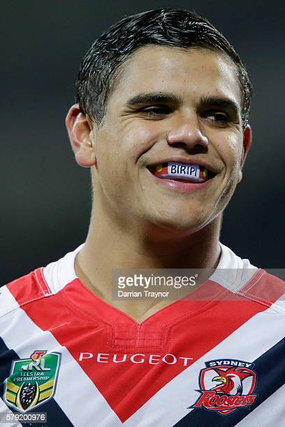 Latrell Mitchell of the Roosters smiles to crowd during the round 20 NRL match between the Melbourne Storm and the Sydney Roosters at AAMI Park on...