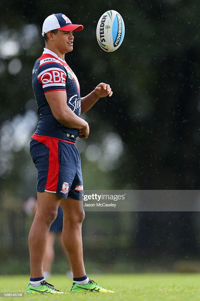 Latrell Mitchell of the Roosters watches on during a Sydney Roosters NRL training session at Moore Park on June 1, 2016 in Sydney, Australia.