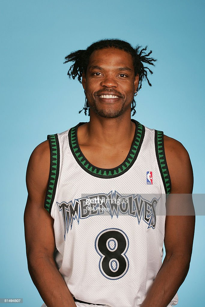 Latrell Sprewell #8 of the Minnesota Timberwolves poses for a portrait during NBA Media Day on October 4, 2004 at the Target Center in Minneapolis, Minnesota.