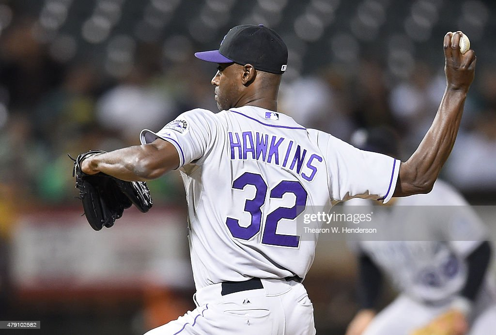 LaTroy Hawkins of the Colorado Rockies pitches against the Oakland Athletics in the bottom of the ninth inning at Oco Coliseum on June 30 2015 in...