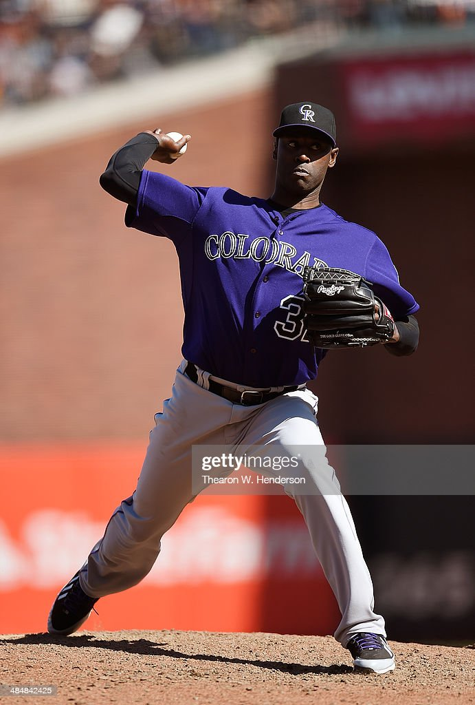 LaTroy Hawkins of the Colorado Rockies pitches against the San Francisco Giants in the bottom of the ninth inning at ATT Park on April 12 2014 in San...