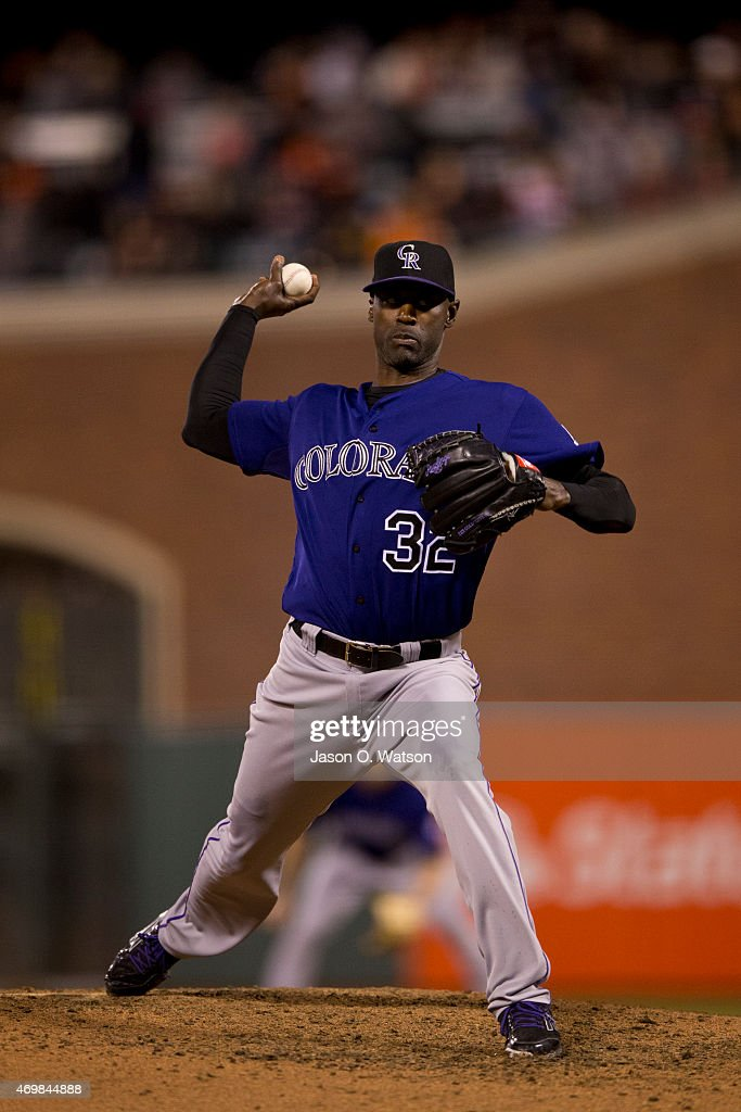 LaTroy Hawkins of the Colorado Rockies pitches against the San Francisco Giants during the sixth inning at ATT Park on April 14 2015 in San Francisco...