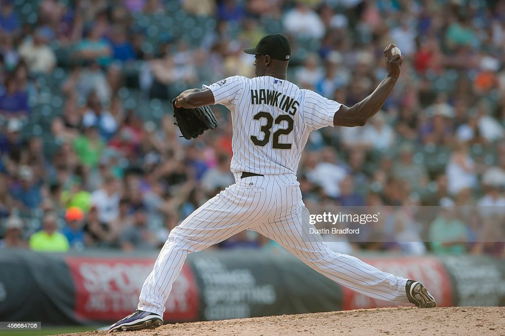 LaTroy Hawkins of the Colorado Rockies pitches in the ninth inning of a game against the Arizona Diamondbacks at Coors Field on September 20 2014 in...